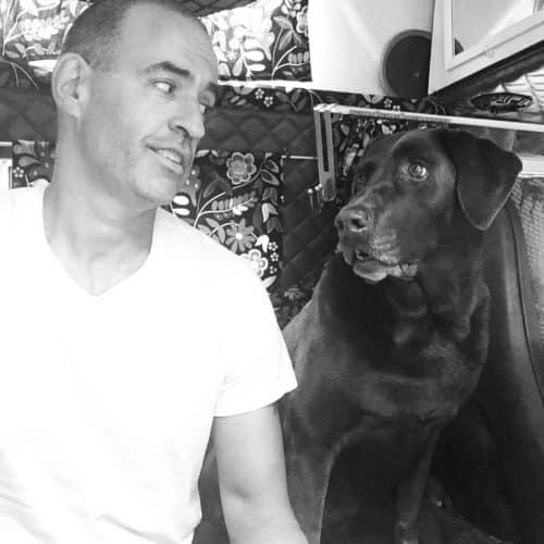 Man sitting inside van beside dog looking at each other