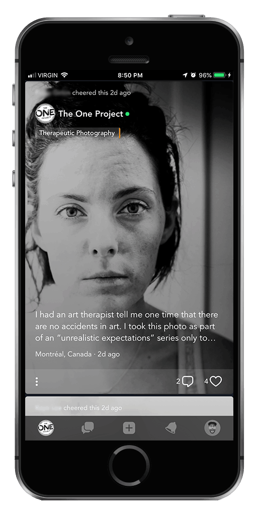 Screenshot mockup of The One Project mental health apps on an iPhone